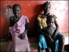 Children in a waiting room in Nasir hospital, Sudan