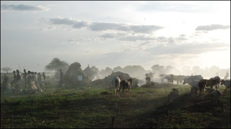 A Nuer cattle camp in the Upper Nile region