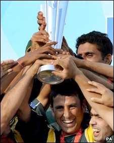 "Pakistan""s Younis Khan lifts the world cup trophy after Pakistan beat Sri Lanka during the Final of the ICC World Twenty20 at Lords, London"
