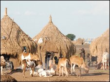 A Nuer Children play in a Nuer cattle camp outside the southern Sudanese town of Nasir in Upper Nile state