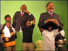 Puppets and their handlers during the filming of the XYZ Show