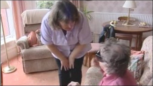 Home carer and elderly woman