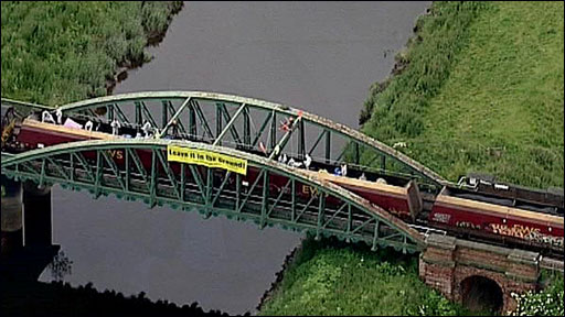 The coal train on the way to Drax power station which the protesters boarded