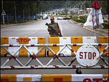 An army checkpoint in Islamabad, Pakistan