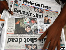 Newspapers carrying the news of Benazir Bhutto's assassination