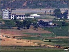 North Korean farms as seen from border with South Korea - 13/6/2009
