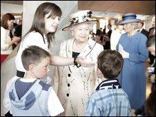 The Queen meeting children