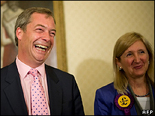 UKIP leader Nigel Farage and new UKIP MEP Marta Andreasen