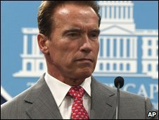 California governor Arnold Schwarzenegger in Sacramento (1 July 2009)