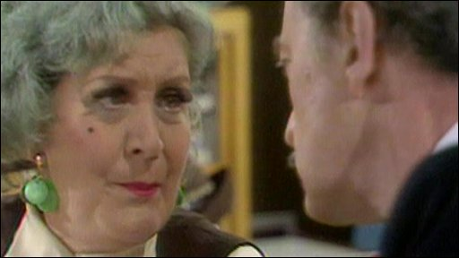 Mollie Sudgen as Mrs Slocombe and Frank Thornton as Captain Peacock