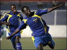 KCC's Tommy Okello celebrates scoring against TP Mazembe