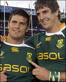 Morne Steyn and Fourie celebrate victory last weekend
