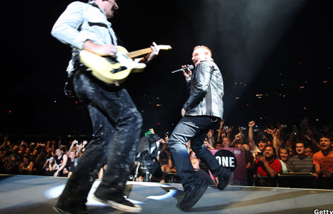 U2 and The Edge performing