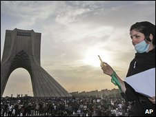 Woman uses her mobile phone in Tehran 15.6.09