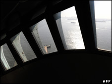 View of the Lady Liberty's arm from the window of the crown of the Statue of Liberty during a media tour 20 May  2009