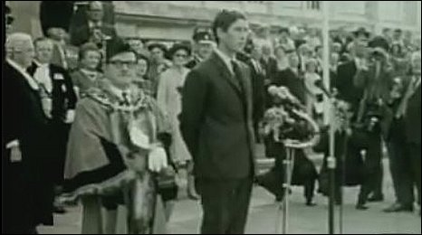 Prince Charles annoucing Swansea's city status in 1969