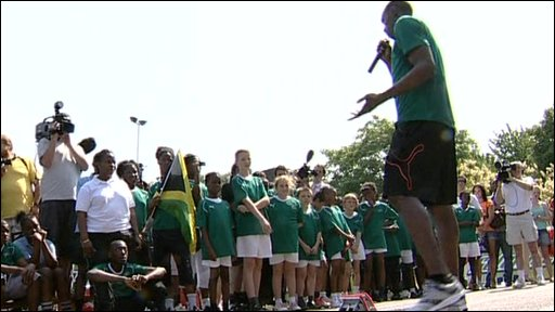 Usain Bolt with students
