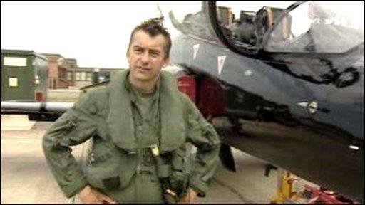 Squadron Leader Gareth Lloyd Roberts and the new Hawk T2 Trainer jet plane
