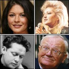 Catherine Zeta Jones, Bonnie Tyler, Sir Harry Secombe and Dylan Thomas