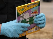 Police with confiscated child's book
