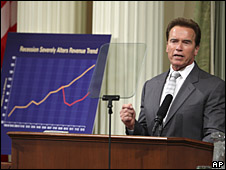 California Governor Arnold Schwarzenegger discusses the state's budget crisis