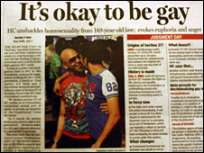 Indian newspaper front page on the court ruling on decriminalising homosexuality