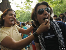 Gay men celebrating the court ruling in Delhi, India