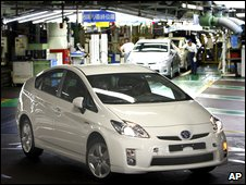 "Toyota Motor Corp.""s assembled new Prius rolls out at the Toyota Tsutsumi Plant in Toyota"
