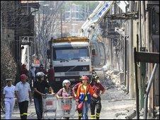 Italy explosion scene Viareggio