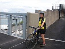 Vera Arrowsmith on the cycle path bridge