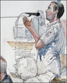 Court sketch at trial of Cheb Mami