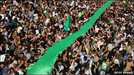 Opposition supporters in Tehran June 15