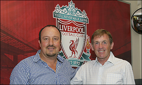 Liverpool manager Rafael Benitez (left) welcomes Kenny Dalglish into his coaching set up at Anfield