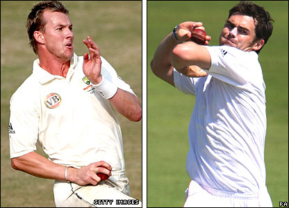 Brett Lee and James Anderson in action