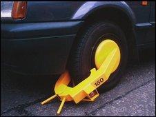 A clamped car