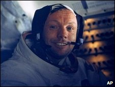 Neil Armstrong inside the Lunar Module