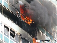 The tower block ablaze