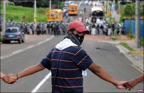 A pro-Zelaya rally in Tegulcigalpa, 3 July