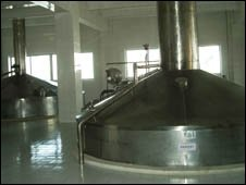 Brewing kettles inside the brewery today