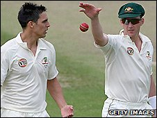 Australia pacemen Mitchell Johnson (left) and Brett Lee