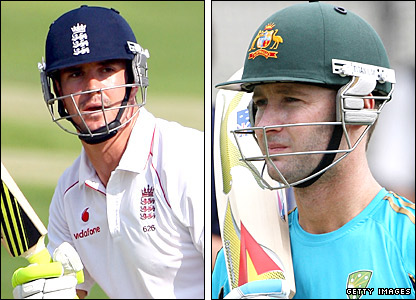 England's Kevin Pietersen and Australia vice-captain Michael Clarke