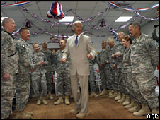 Vice President Joe Biden with US troops at Camp Victory, Baghdad, on 4 July 2009