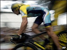 Lance Armstrong rides during the time trial in Monaco
