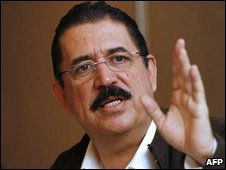 Ousted Honduran President Manuel Zelaya speaks during a press conference in Panama City on July 2, 2009.