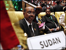 Sudanese President Omar al-Bashir at the African Union summit in Libya