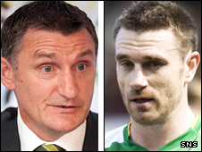 Celtic manager Tony Mowbray and captain Stephen McManus
