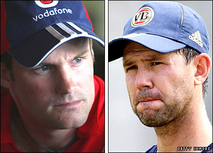England's Andrew Strauss and Australia's Ricky Ponting