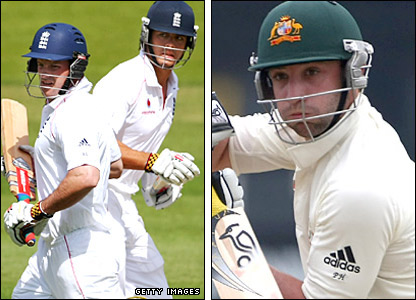 England openers Andrew Strauss and Alastair Cook with Australia's Phillip Hughes