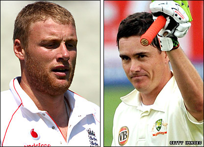 England's Andrew Flintoff and Australia's Marcus North