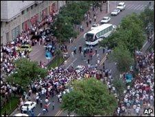 Protesters gathering on Urumqi street, 5 June 2009